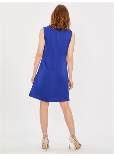 Vekem-Limited Edition Kolsuz Klasik Kesim Krep Elbise Saks